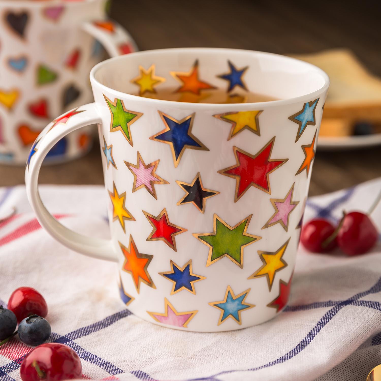 英国原产DUNOON丹侬 Cairngorm型骨瓷茶杯水杯马克杯金星 彩色