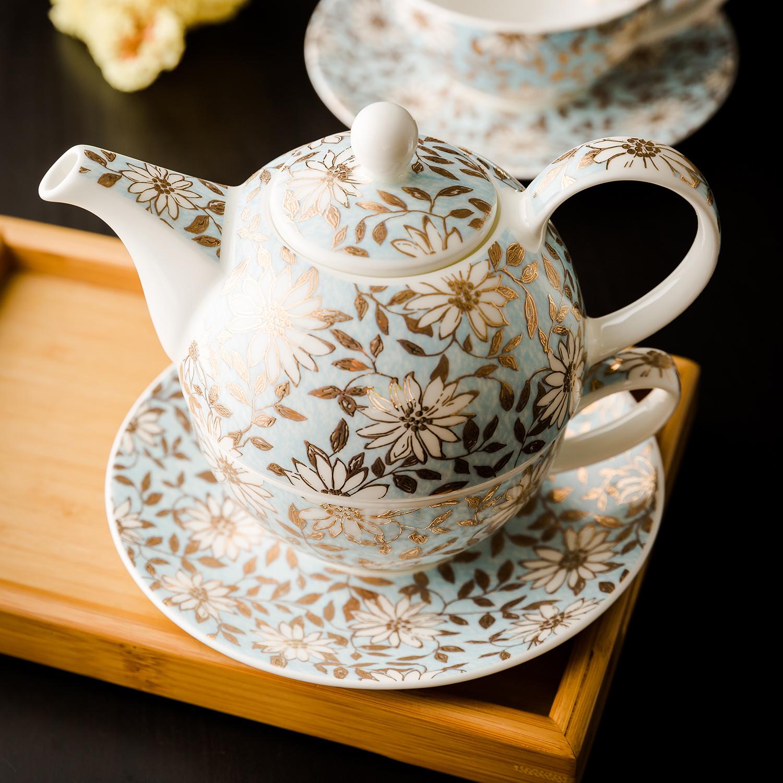 英国原产DUNOON丹侬 Aqua骨瓷茶杯水杯 茶具 22K黄金饰面 一壶一杯一碟