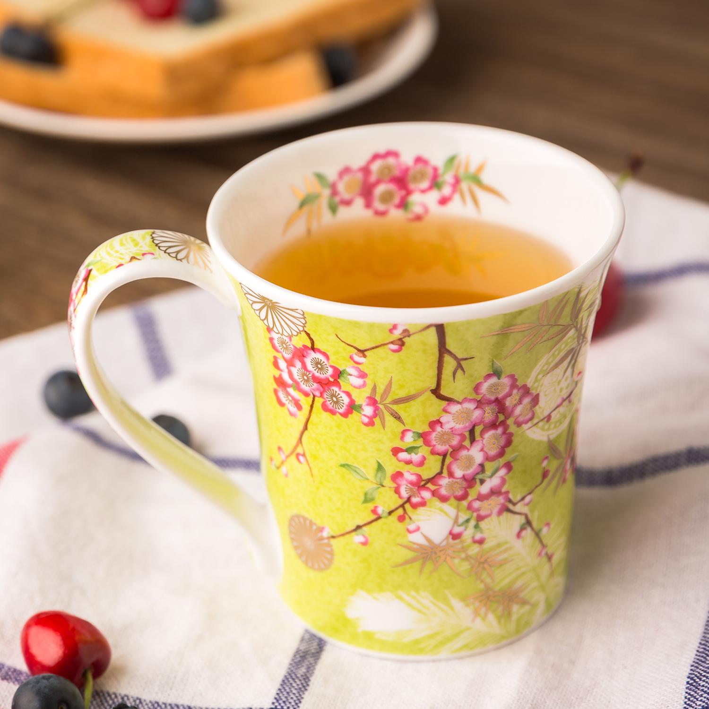 英国DUNOON丹侬Jura型黄金饰面骨瓷茶杯水杯马克杯樱花 绿色