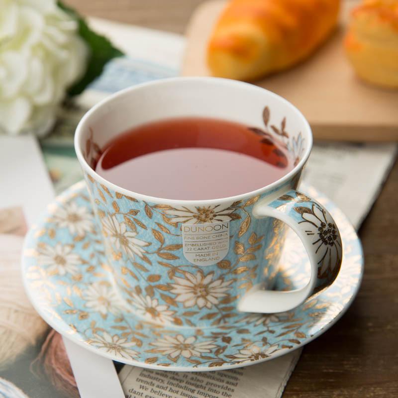 英国原产丹侬DUNOON骨瓷茶具一杯一碟套装22k黄金饰面 浅绿色小花