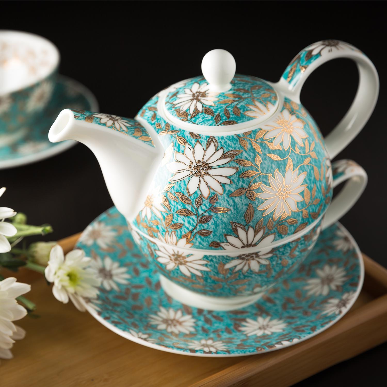英国原产DUNOON丹侬 骨瓷茶杯 骨瓷水杯 茶具 黄金饰面 一壶一杯一碟