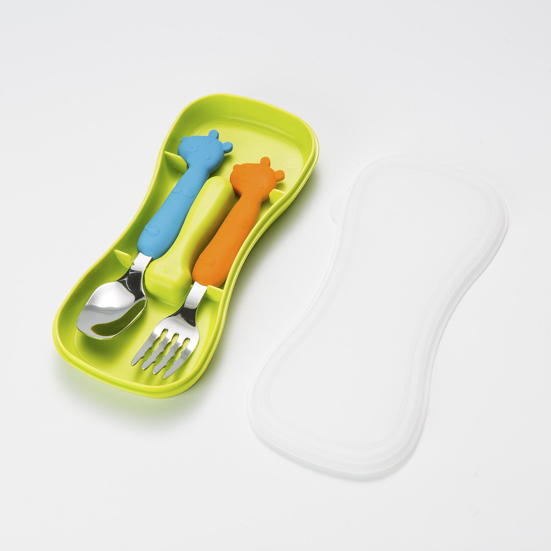 韩国原产Mathos Loreley宝宝餐叉餐勺叉勺套装配盒子 绿色