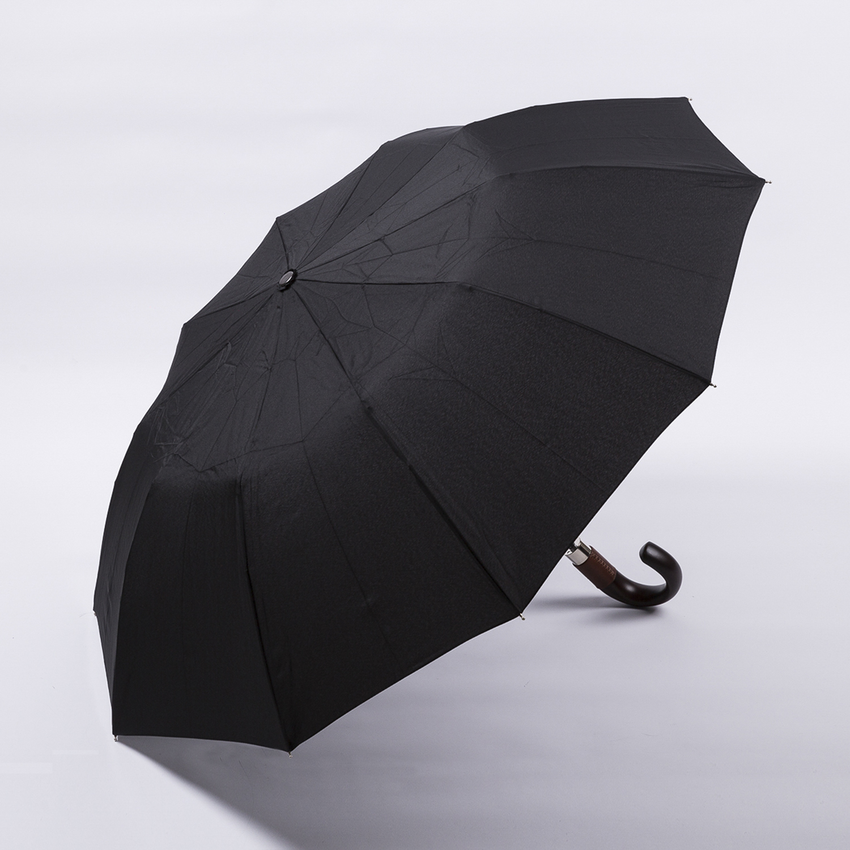 法国源产Guy de Jean男士折叠伞  弯把黑色 黑色