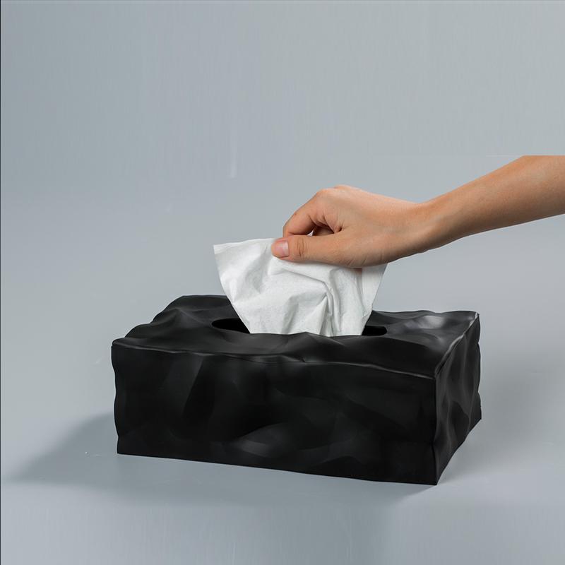 丹麦原产essey Wipy II创意褶皱纸巾盒抽纸盒 无底座 黑色