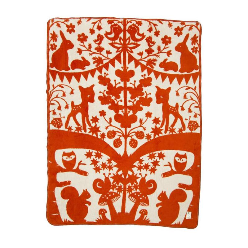 瑞典Fabulous Goose有机棉婴儿毛毯,120*150cm 森林神话 红色