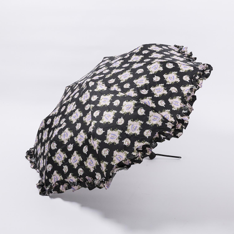法国源产Guy de Jean女士晴雨伞防晒遮阳伞折叠伞 欧式淑女 黑色