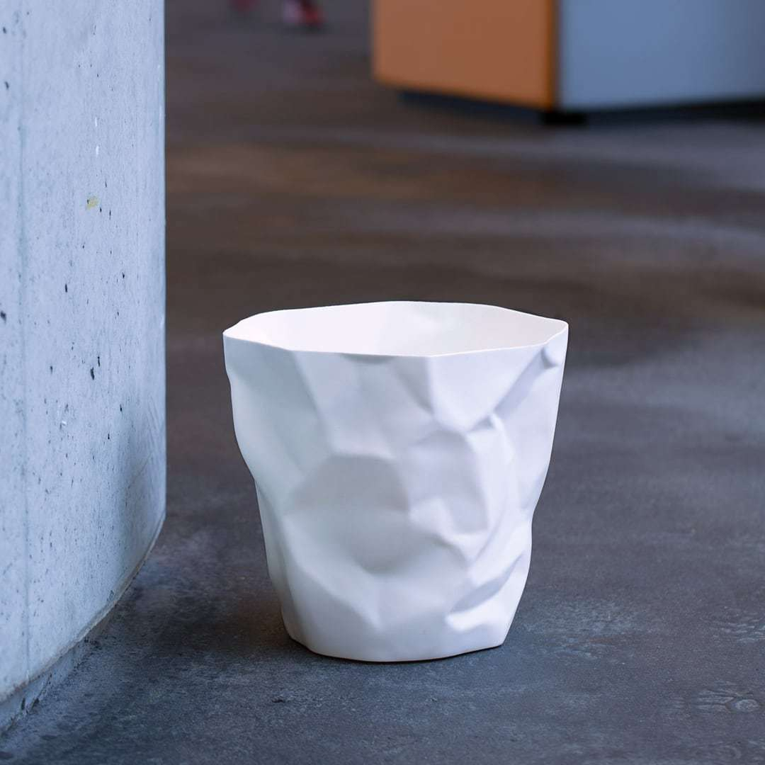 丹麦原产essey Bin Bin 创意褶皱废纸篓垃圾桶垃圾篓 大号 白色