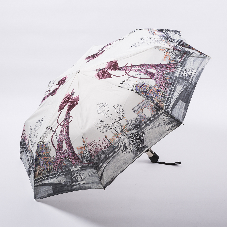 法国源产Guy de Jean女士自动折叠晴雨伞遮阳伞  最美巴黎 浅粉色