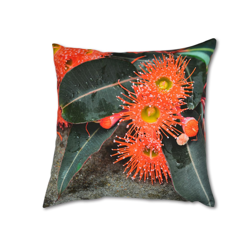 澳大利亚原产SQ STUDIO生物可降解油墨印刷方形亚麻抱枕靠垫 花朵图案