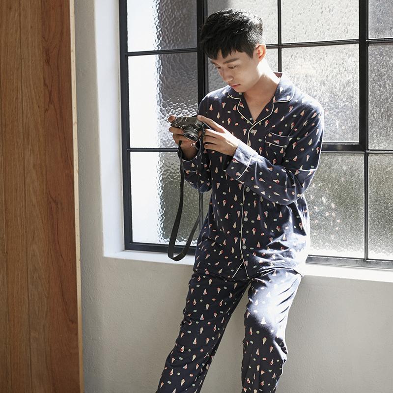 韩国原产JO'S LOUNGE纯棉家居服休闲睡衣套装蛋卷冰淇淋 蓝色