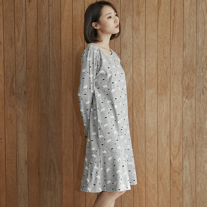 韩国原产JO'S LOUNGE 纯棉家居服休闲服睡衣睡裙极地泽西 灰色