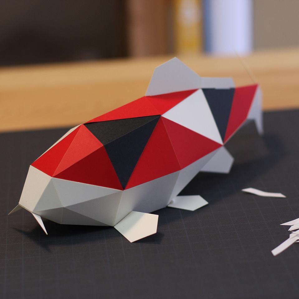 日本原产KAKU KAKU3D立体纸质拼图动物纸模儿童DIY玩具锦鲤 红色