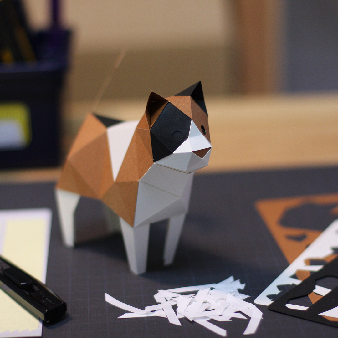 日本原产KAKU KAKU3D立体纸质拼图动物纸模儿童DIY玩具三色猫 花色