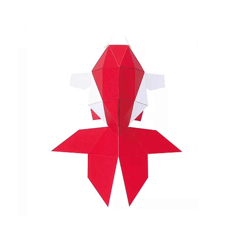日本原产KAKU KAKU3D立体纸质拼图动物纸模儿童DIY玩具金鱼 红色