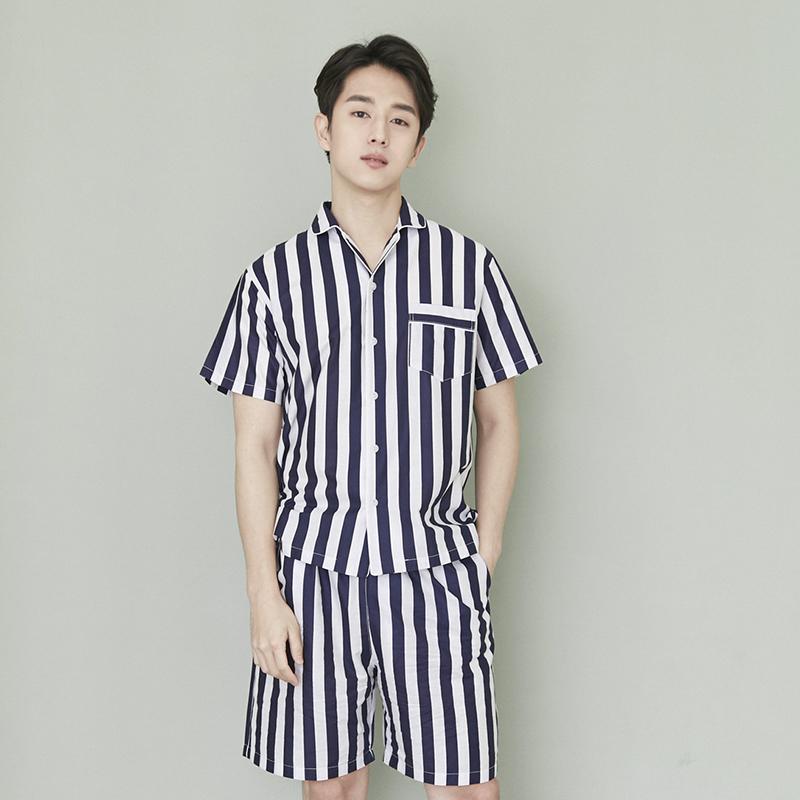 韩国原产JO'S LOUNGE纯棉家居服休闲服睡衣套装条纹 蓝条