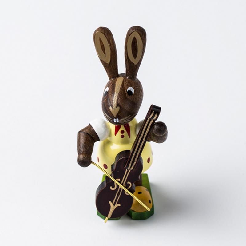 德国原产Kunstgewerbe Uhlig木质拉大提琴的精灵兔复活节 棕色