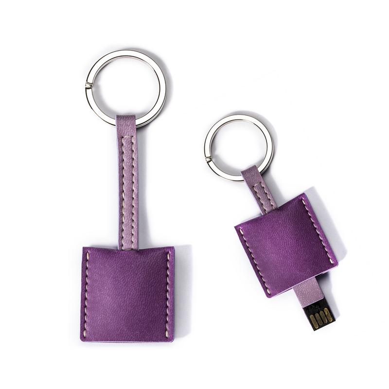 意大利原产Reflexa维耶勒法兰绒钥匙扣+USB内存U盘16GB 深紫色