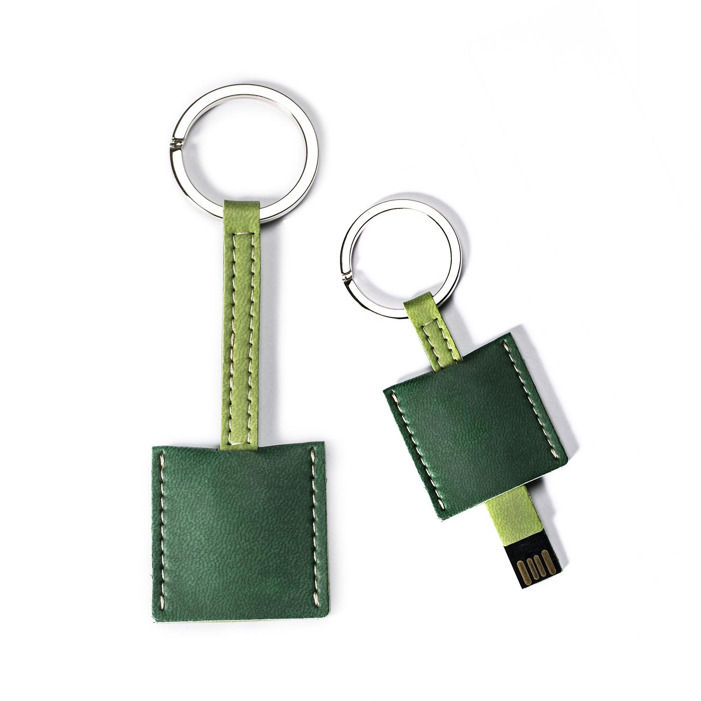 意大利原产Reflexa维耶勒法兰绒钥匙扣/圈+USB内存U盘8GB 绿色