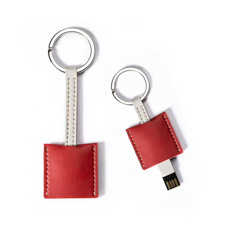 意大利原产Reflexa维耶勒法兰绒钥匙扣+USB内存U盘16GB 红色