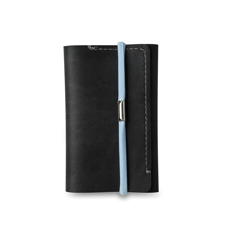 意大利原产Reflexa简约维耶勒法兰绒钱包钱夹短款6*9.5cm 黑色