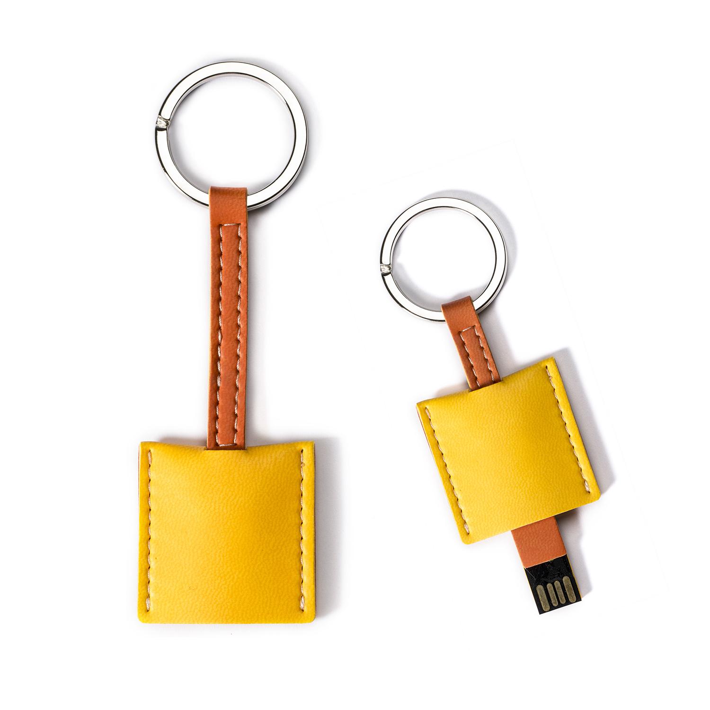 意大利原产Reflexa维耶勒法兰绒钥匙扣/圈+USB内存U盘4GB 黄色