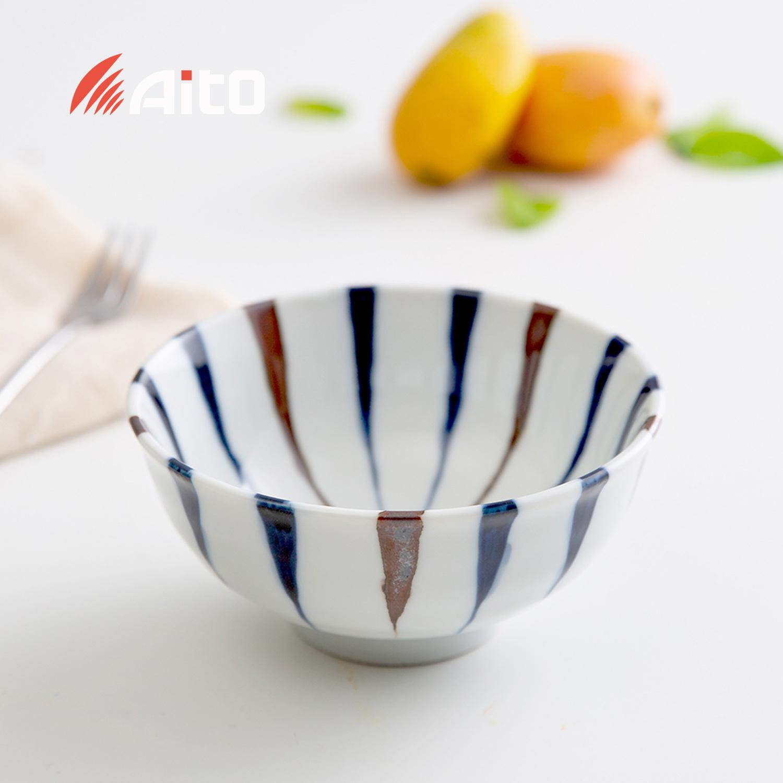 日本原产AITO Ai Tokusa蓝十草美浓烧陶瓷饭碗大碗汤碗餐碟杯 饭碗