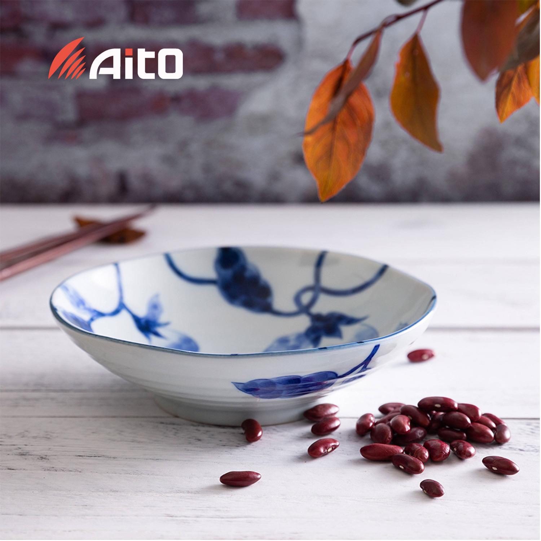 日本原产AITO Aizome Nasu蓝染茄美浓烧陶瓷饭碗大碗餐碟 深皿盘