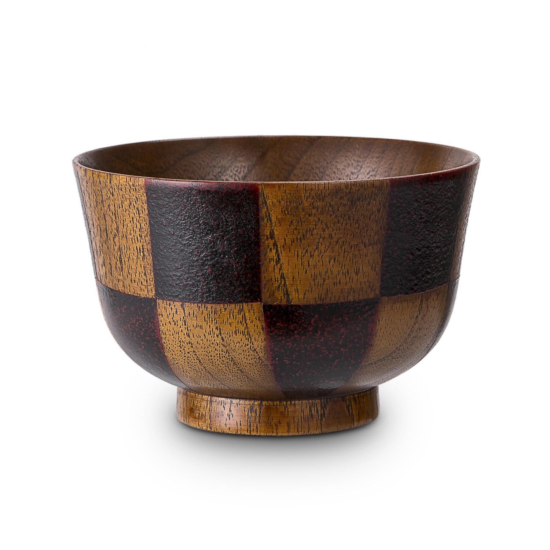 日本原产wakacho若兆 传统漆器栗木汤碗茶碗多用碗水波纹 黑色