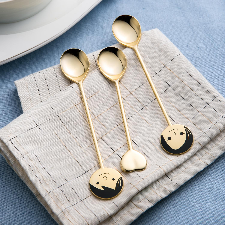 日本原产elfin 高桑金属不锈钢镀金咖啡勺3件套夫妻和睦 金黄
