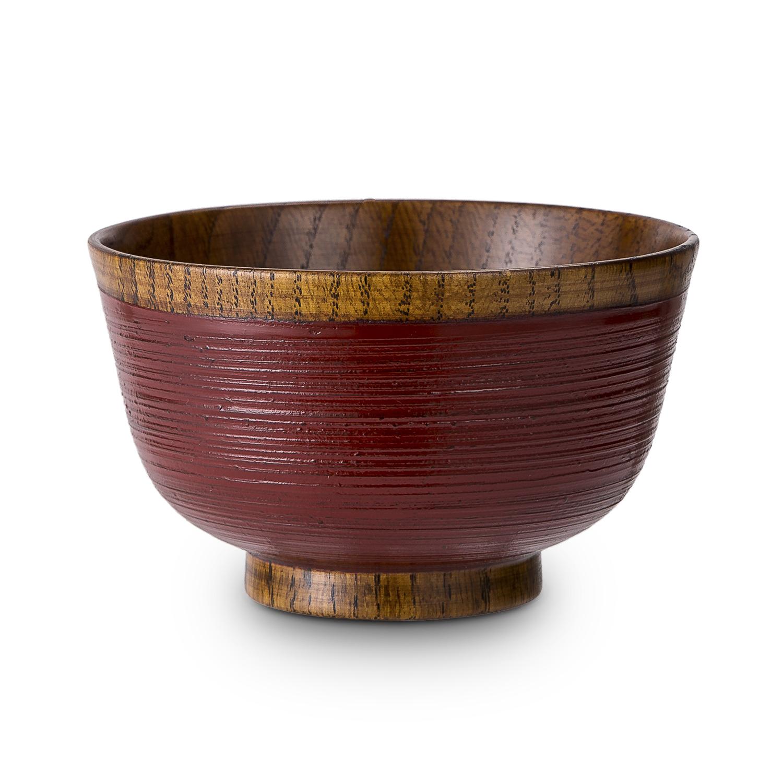 日本原产wakacho若兆 传统漆器栗木汤碗茶碗多用碗 红色