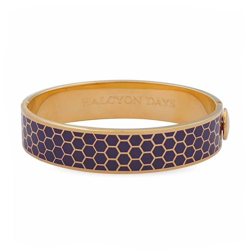 英国原产HALCYON DAYS 皇家认证18k镀金骨瓷手镯手环 紫色