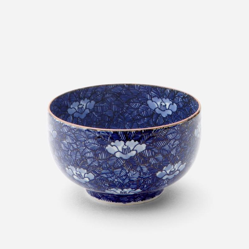 日本原产T.NISHIKAWA Kumo京烧清水烧彩绘陶瓷茶碗 山茶