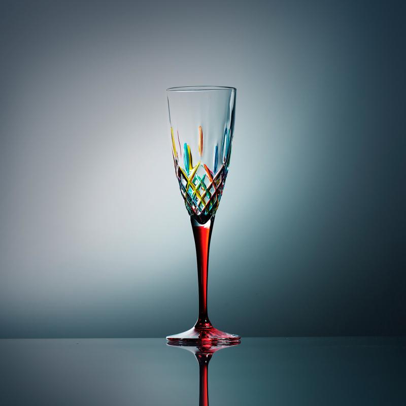 意大利原产ZECCHIN穆拉诺宫殿系列手工彩色玻璃高脚酒杯150ml 红色