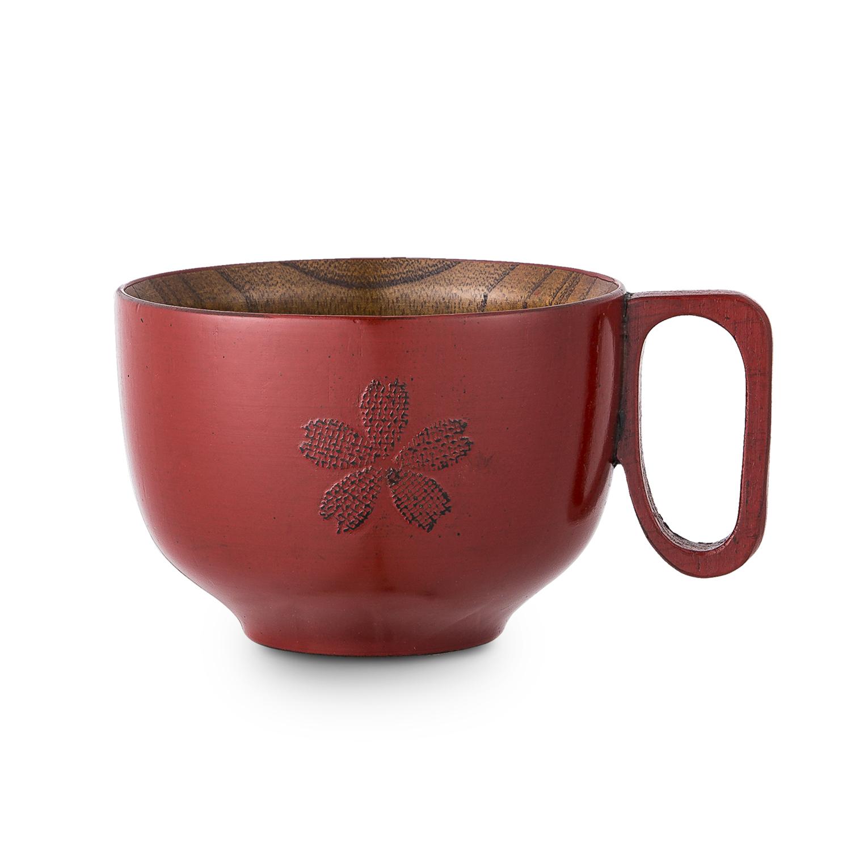 日本原产wakacho若兆 传统漆器栗木汤碗樱花 红色