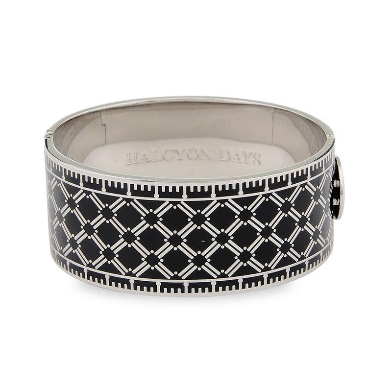 英国原产HALCYON DAYS 皇家认证黄铜镀钯骨瓷手镯手环 黑色