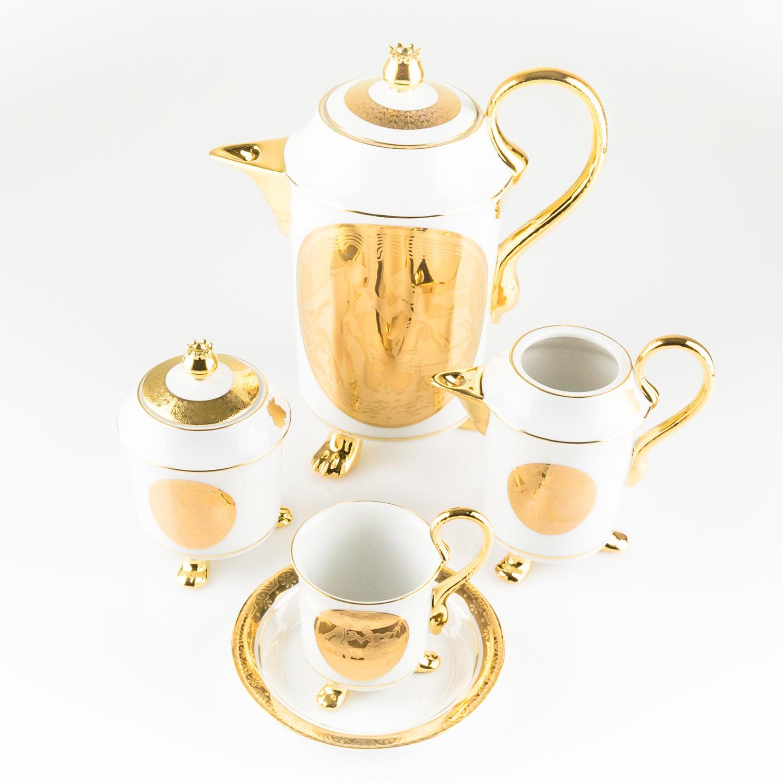 德国原产GLORIA 24K镶金陶瓷奶壶糖罐茶杯茶具套装爱情 金黄