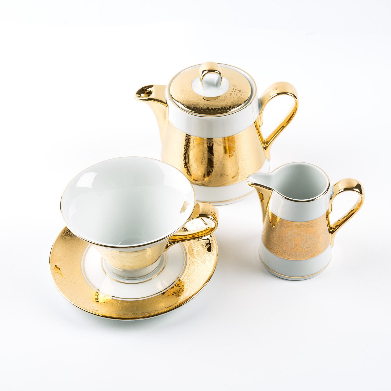 德国原产GLORIA 24K镶金陶瓷奶壶糖罐茶杯茶具套装爱情场景 金黄