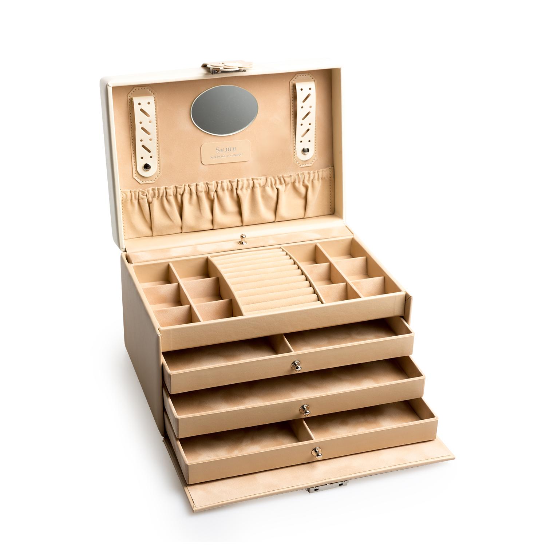 德国原产SACHER柔软皮革抽屉式雏菊首饰收纳盒储物盒 杏色