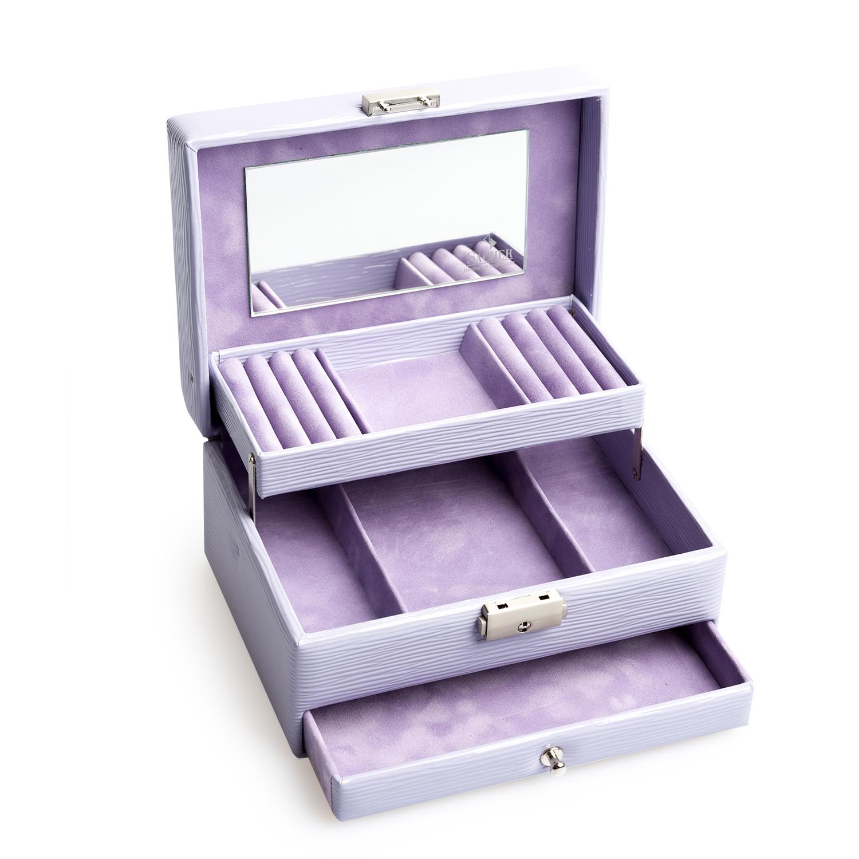 德国原产SACHER柔软皮革抽屉式时尚首饰收纳盒储物盒 紫色